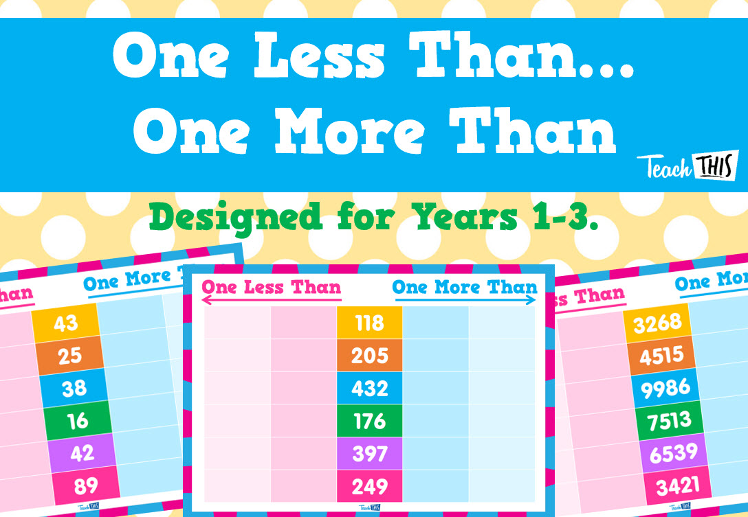 One More Than, One Less Than | Number & Place Value | Pinterest ...
