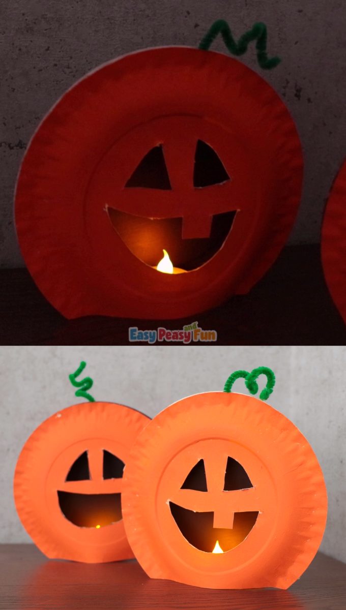 Paper Plate Pumpkin Craft for Kids #candles This Halloween craft for kids is her…
