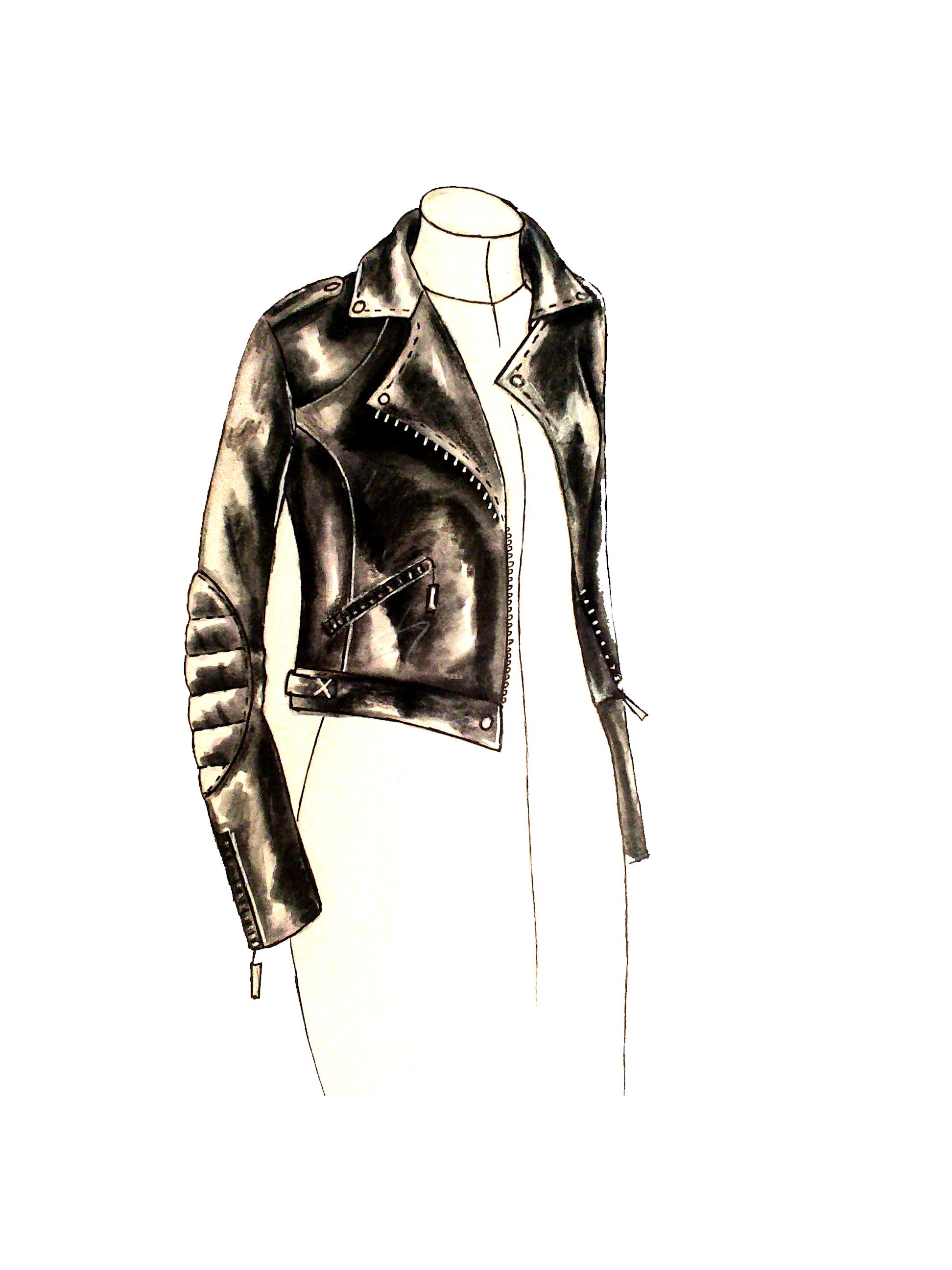 dessin sur veste en cuir
