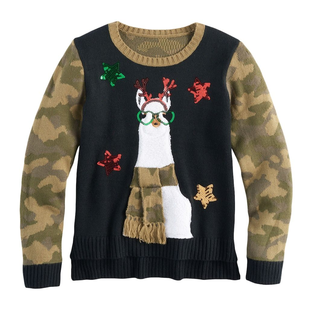 Girls u plus size itus our time highlow sequin ugly christmas