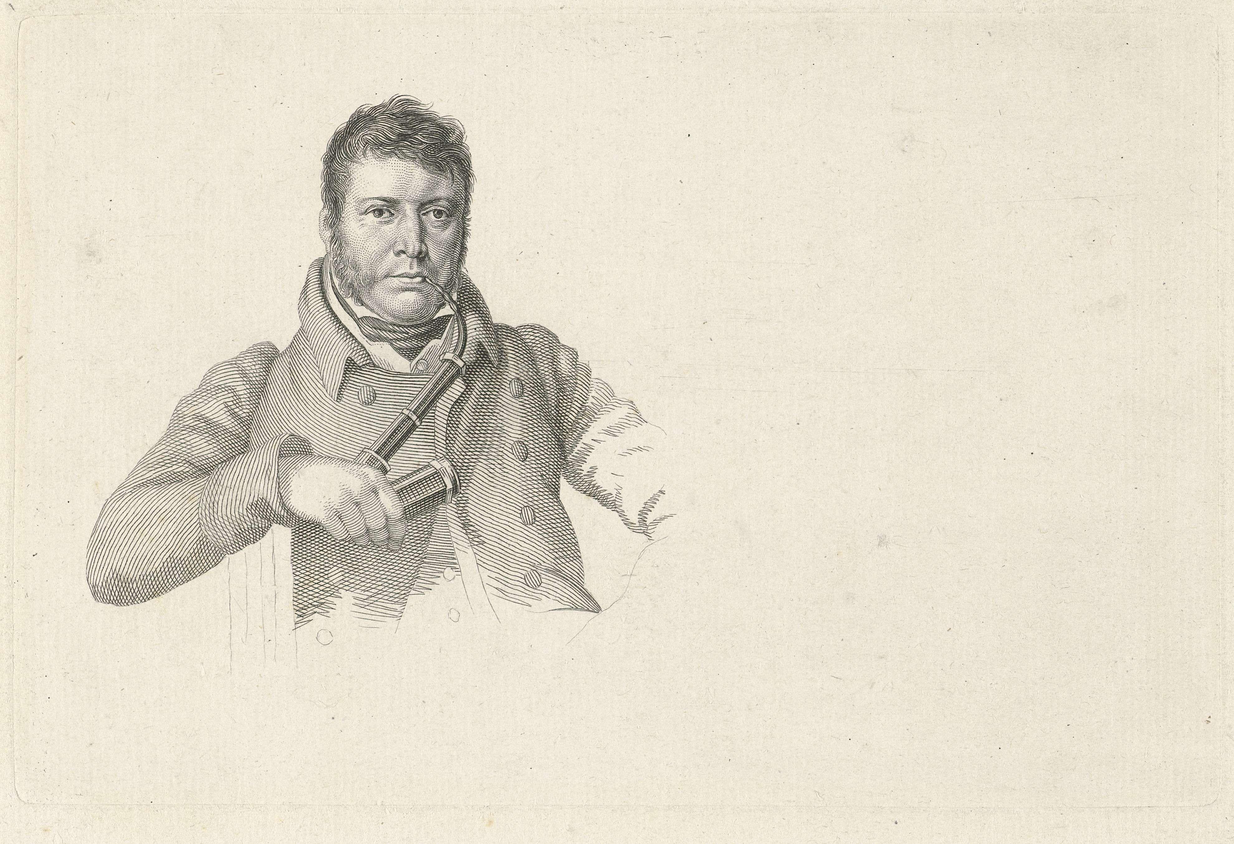 Jacob Ernst Marcus | Portret van Pieter Gerardus van Os, Jacob Ernst Marcus, Hendrik Willem Caspari, 1816 | Portret van de schilder Pieter Gerardus van Os met pijp.