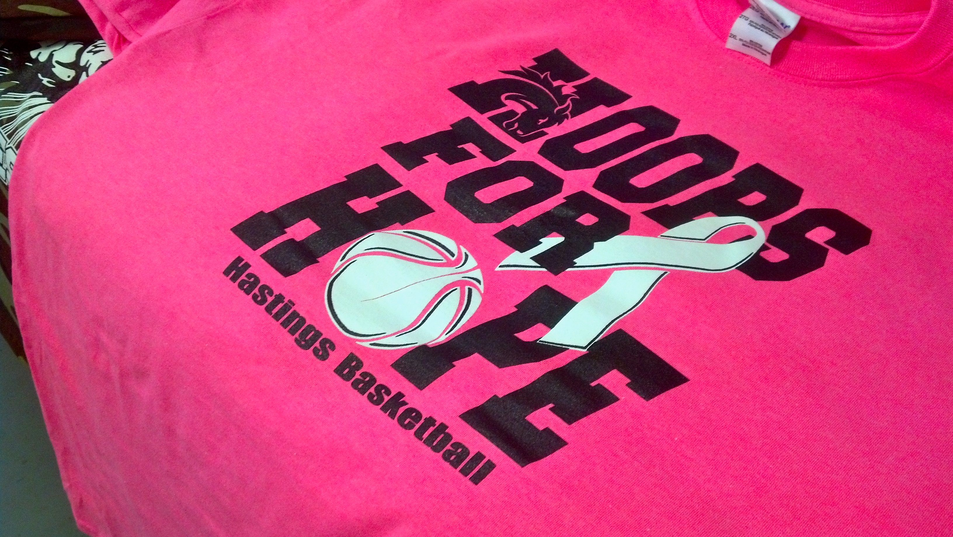 2437c283 Hoops For Hope - Hastings College Basketball - Breast Cancer Awareness -  Pink Out - t-shirt - tee shirt - screen print - screenprint - Kearney  Nebraska ...