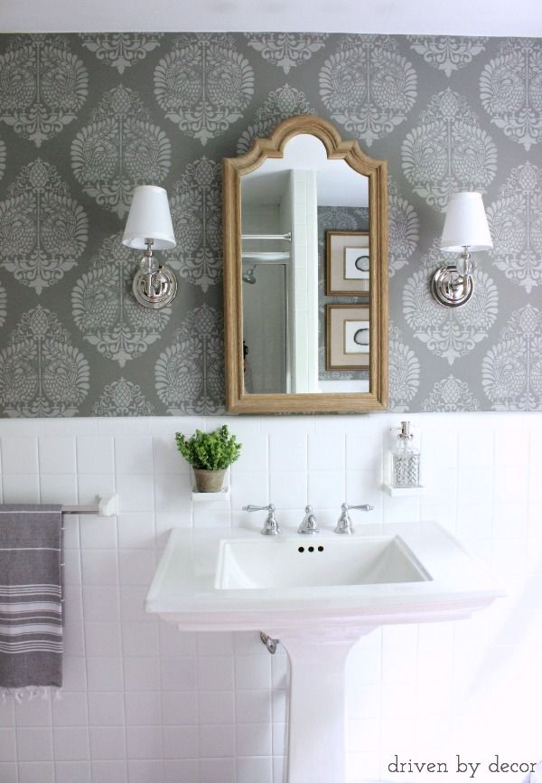 Our Stenciled Bathroom Budget Makeover Reveal   Medicine cabinets ...