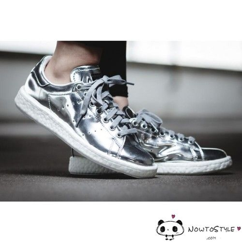 order online sports shoes low cost Adidas Stan Smith Boost BB0108 Silver Metallic Shoes ...