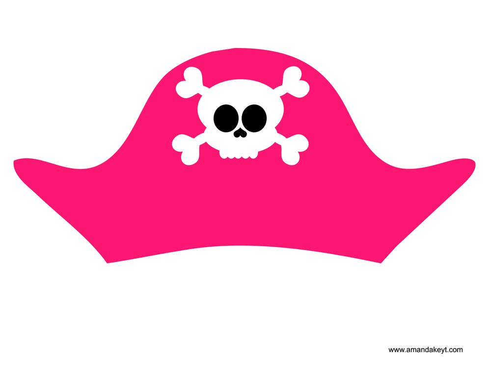 diy pirate hat template - hat from pirate pink printable photo booth prop set