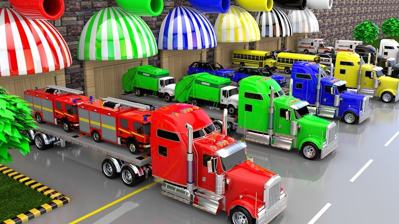 Colors for Children to Learn with Street Vehicles Transporter Trucks ...