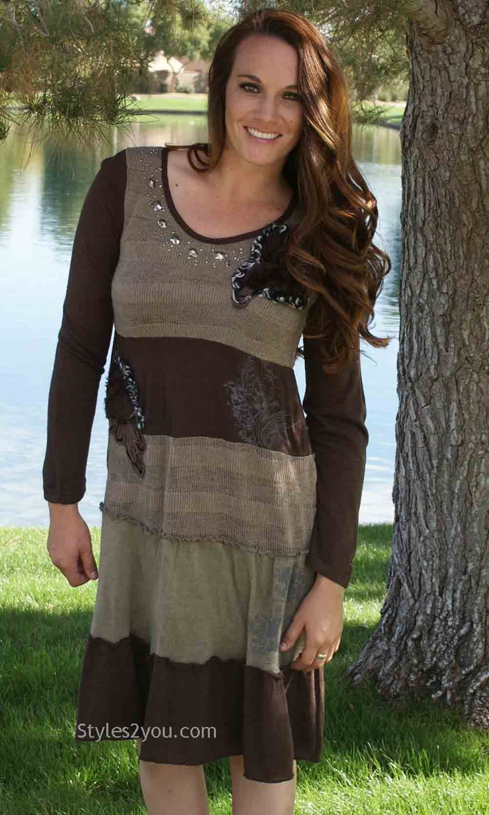 e93d014a2ee Aubrey Ladies Vintage Sweater Dress In Brown Pretty Angel Dress in ...