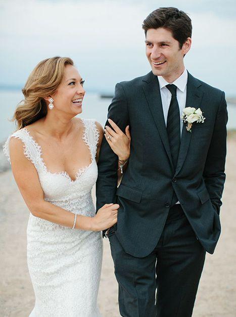 First Picture Gma S Ginger Zee Marries Ben Aaron Wedding Dresses Celebrity Weddings Gorgeous Wedding Dress