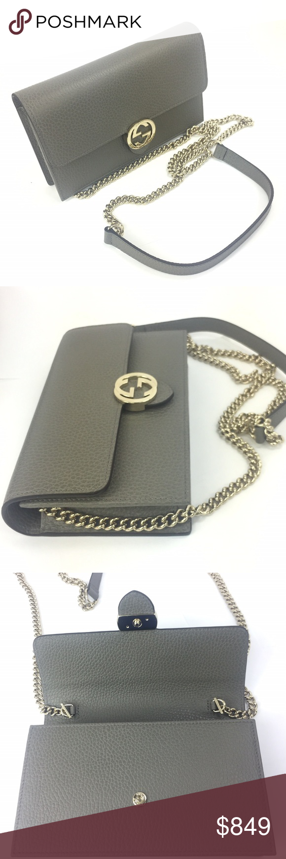 Gucci  510314 Gray GG Closure Chain Crossbody - Gray Textured Leather  Exterior - Flap Closure b2324bde785f6