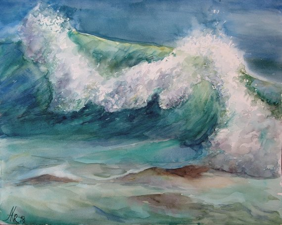 Wave Watercolor Painting Blue Ocean Wave Painting Seascape
