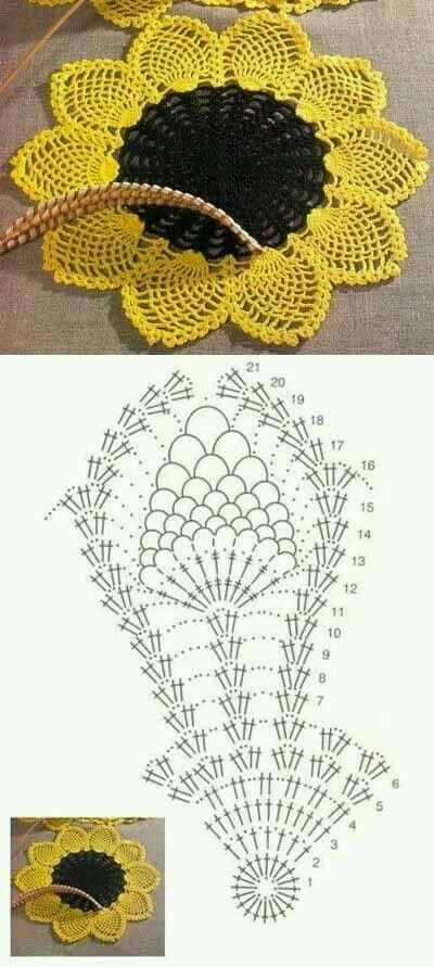 Crochet sunflower | Patrones de ganchillo | Pinterest | Girasoles ...