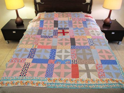 Vintage-GRAPHIC-Hand-Sewn-All-Feed-Sack-SHOO-FLY-Quilt-TOP-Nice-Prints-Colors