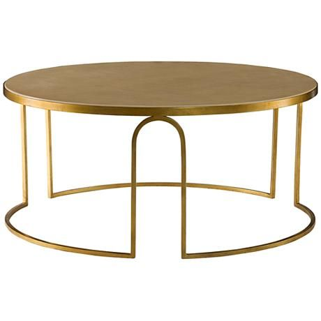 Erica Cream Leather And Iron Round Cocktail Table