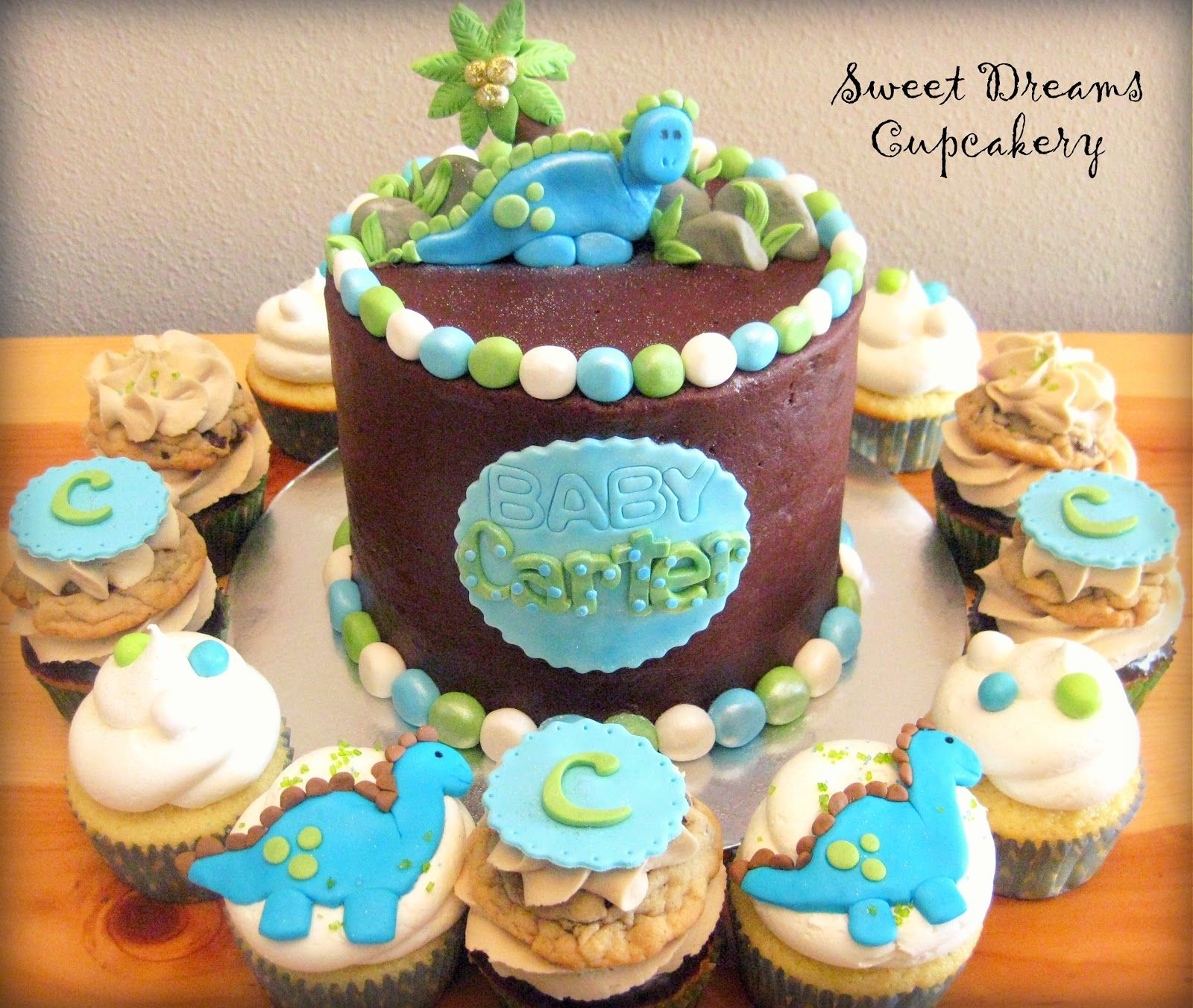 baby dino cupcakes Sweet Dreams Cupcakery Dinosaur Baby Shower