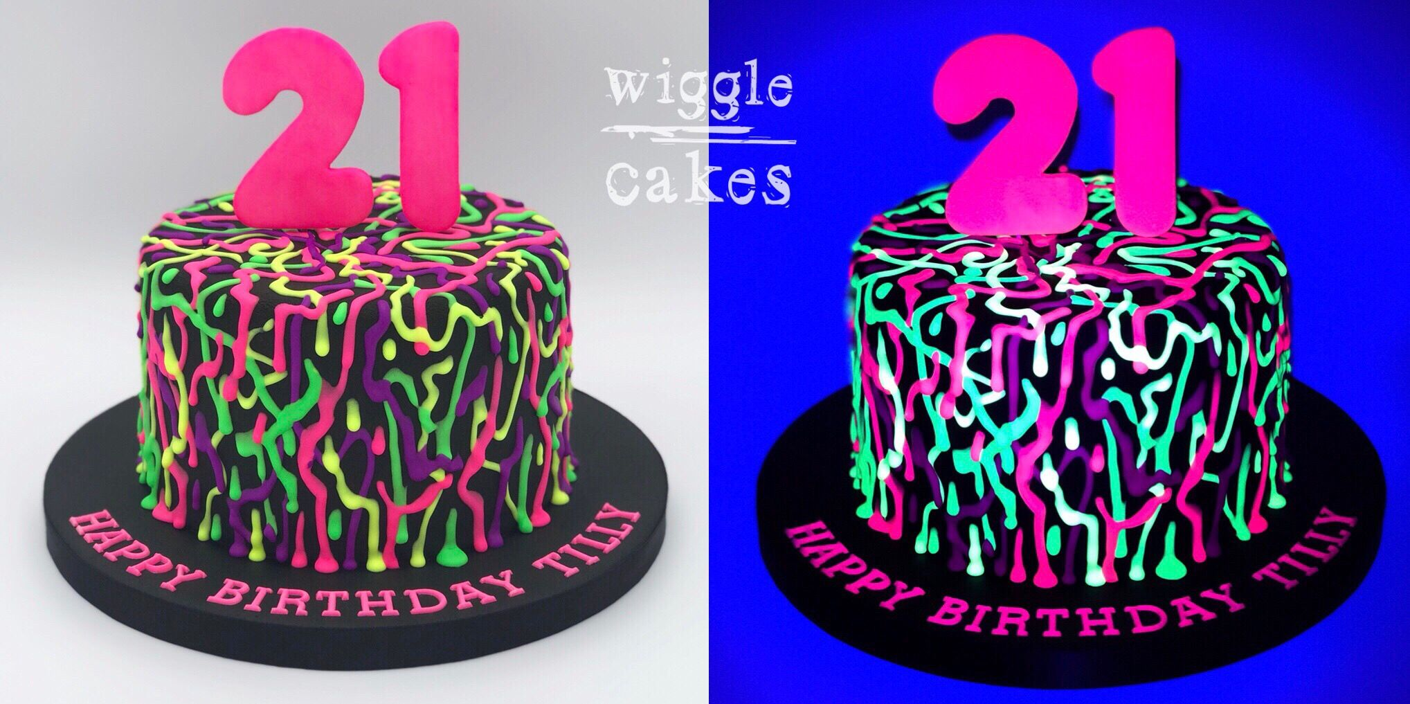 A Glow In The Dark Graffiti Style Drip Cake For A Girls 21st