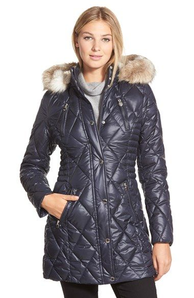 Laundry By Design Faux Fur Trim Quilted Parka Winter Coats Women Fur Trim Fashion