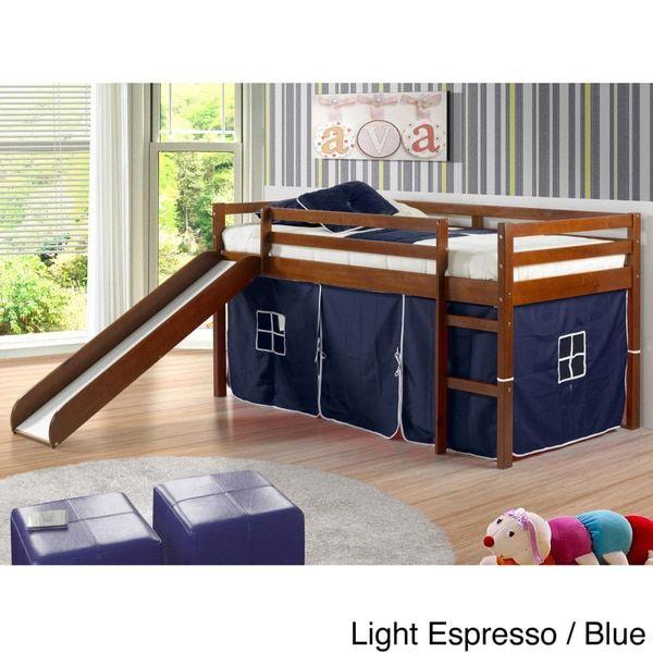 Donco Kids Twin Size Tent Loft Bed With Slide Bedroom Design