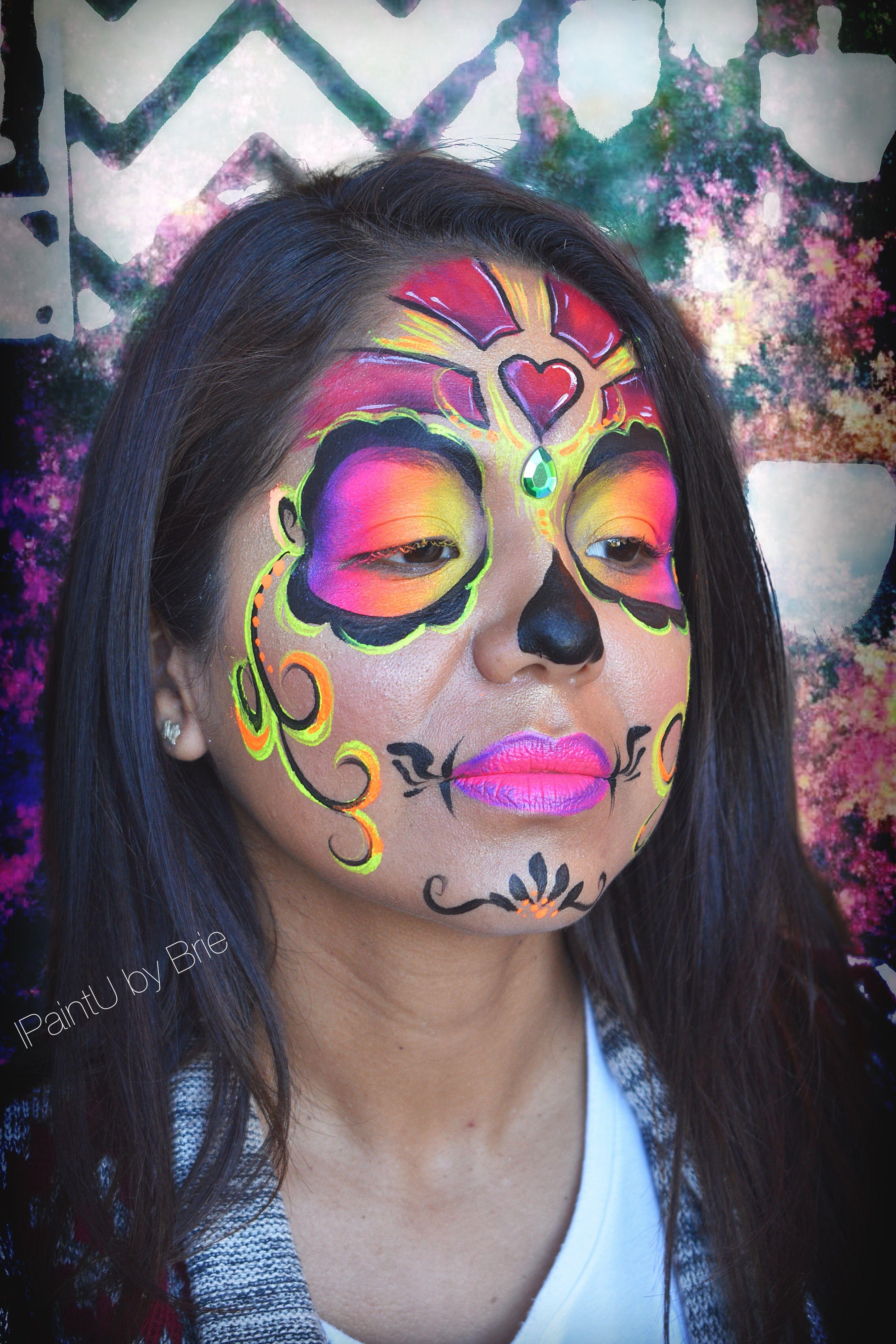 Sugar skull neon rainbow San Antonio Dia de los Muertos
