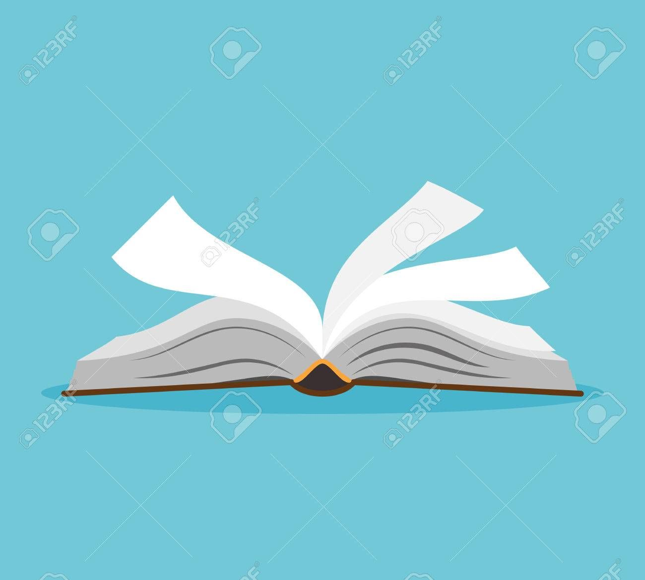 Opened Book Illustration Open Book With Pages Fluttering Vector Illustration Ad Illustration Book Op Book Illustration Open Book Vector Illustration