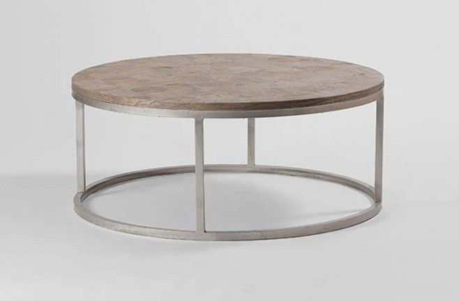 Colby Reclaimed Wood Coffee Table Round Silver Metal Base Gabby