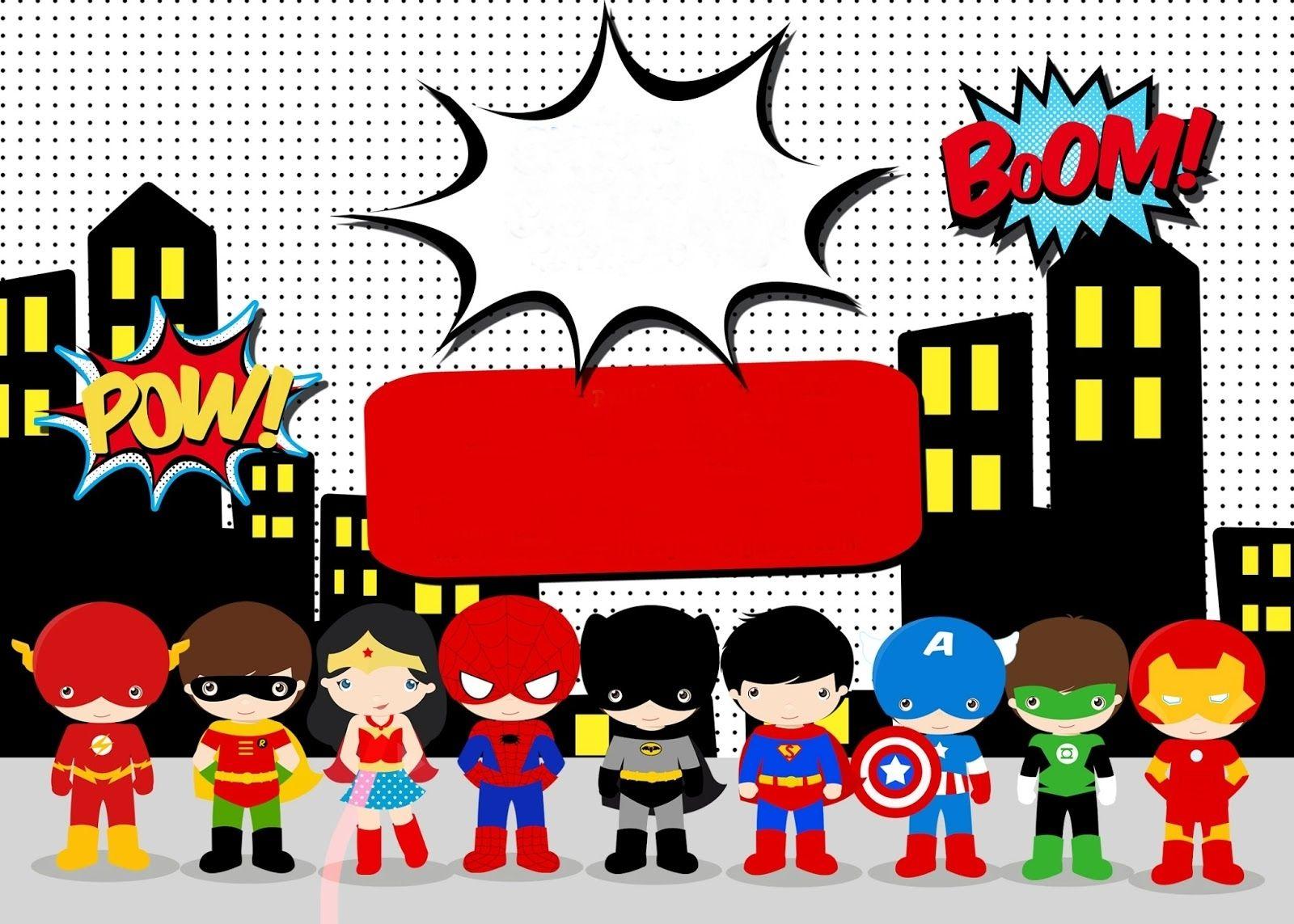 Super Hero Card Invitaciones Superheroes Fiesta De