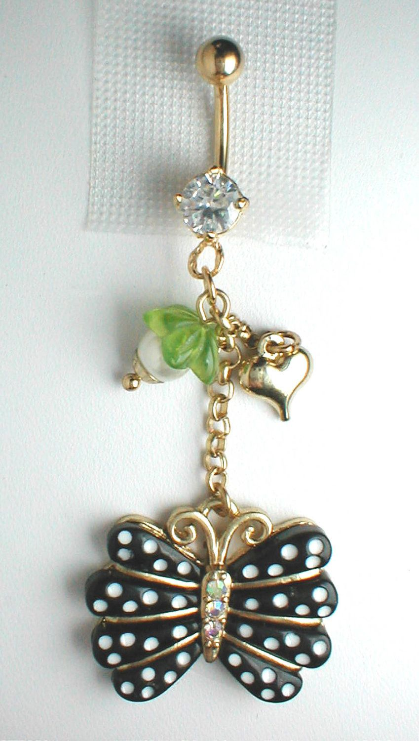 Unique Belly Ring - Butterfly Pendant On A Belly Ring. $11.95, via Etsy.