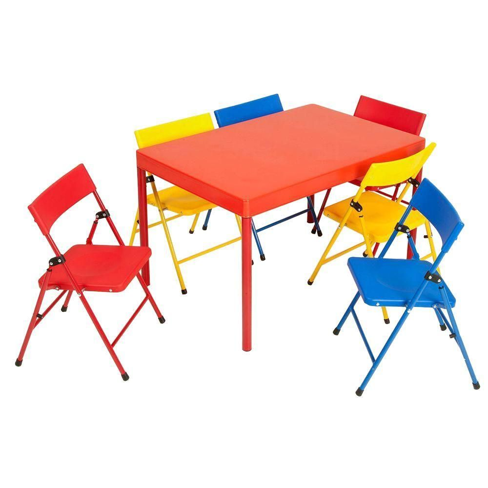 Cosco 36 In X 24 In Kids Table Set In Primary Colors 7 Piece 37371red1e The Home Depot Kids Table Chair Set Kids Table Set Kids Folding Table Childrens folding table and chair sets