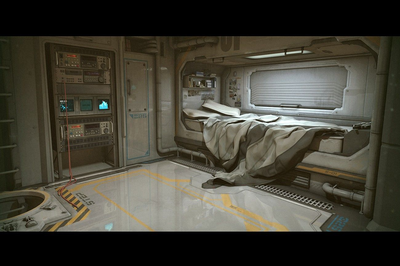 Sci fi room sci fi bedroom space station pinterest for Fallout 4 bedroom ideas