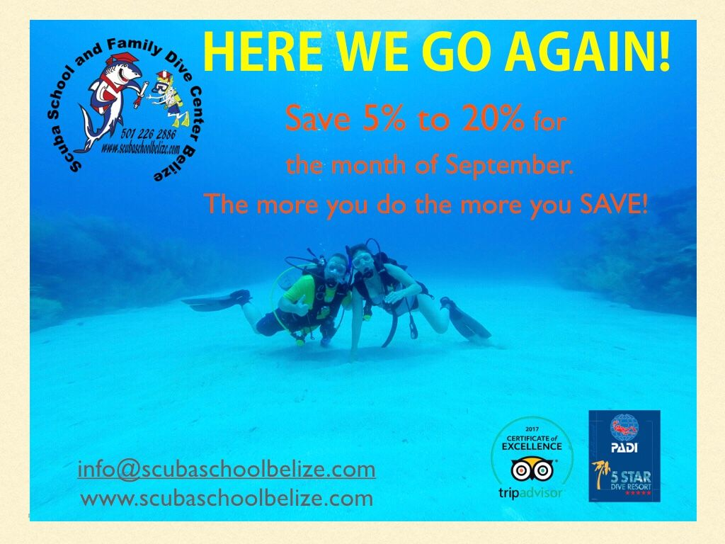 Here we go again. Take advantage of the discounts we have for the month of September! #scubaschoolbelize #Belize #padi #ambergriscaye #vacation