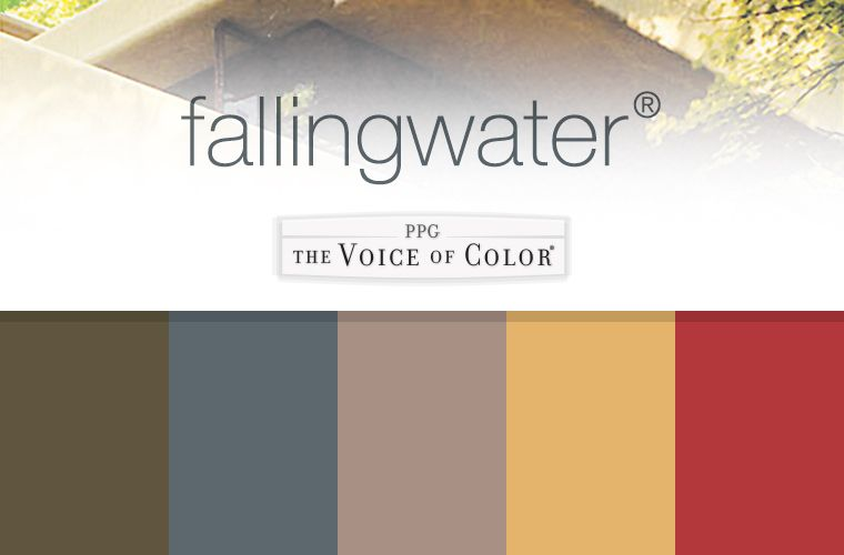 The Fallingwater Collection By Frank Lloyd Wright A Paint Ppg Voice Of Color These Palettes Feature Colors Used At