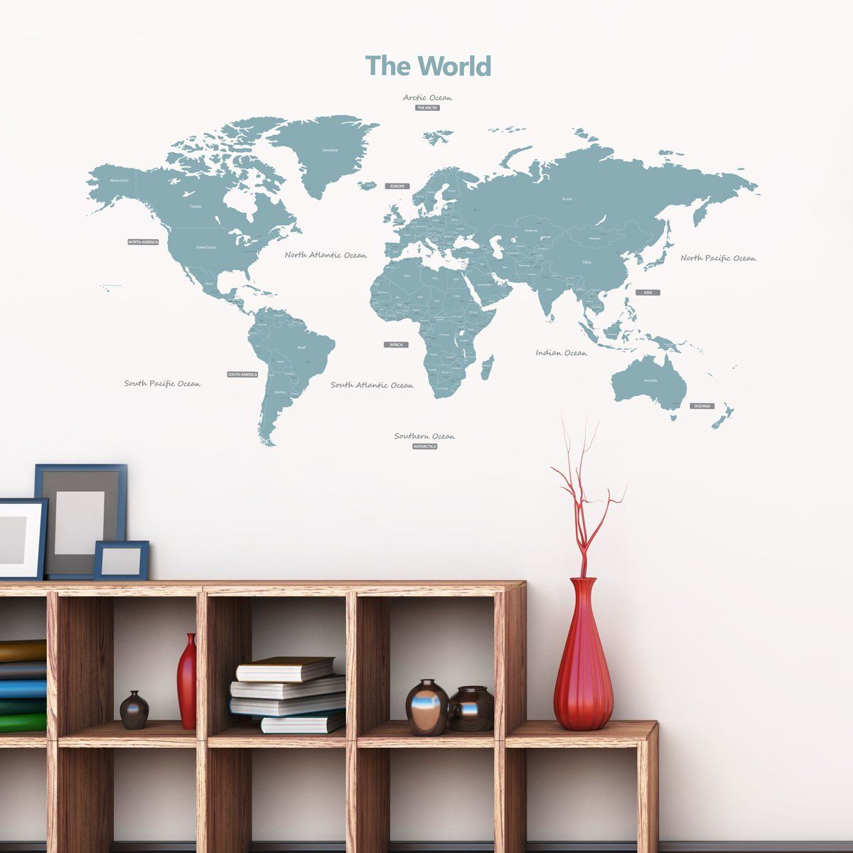 Modern Blue World Map Wall Decals Removable Wall Stickers Over 100