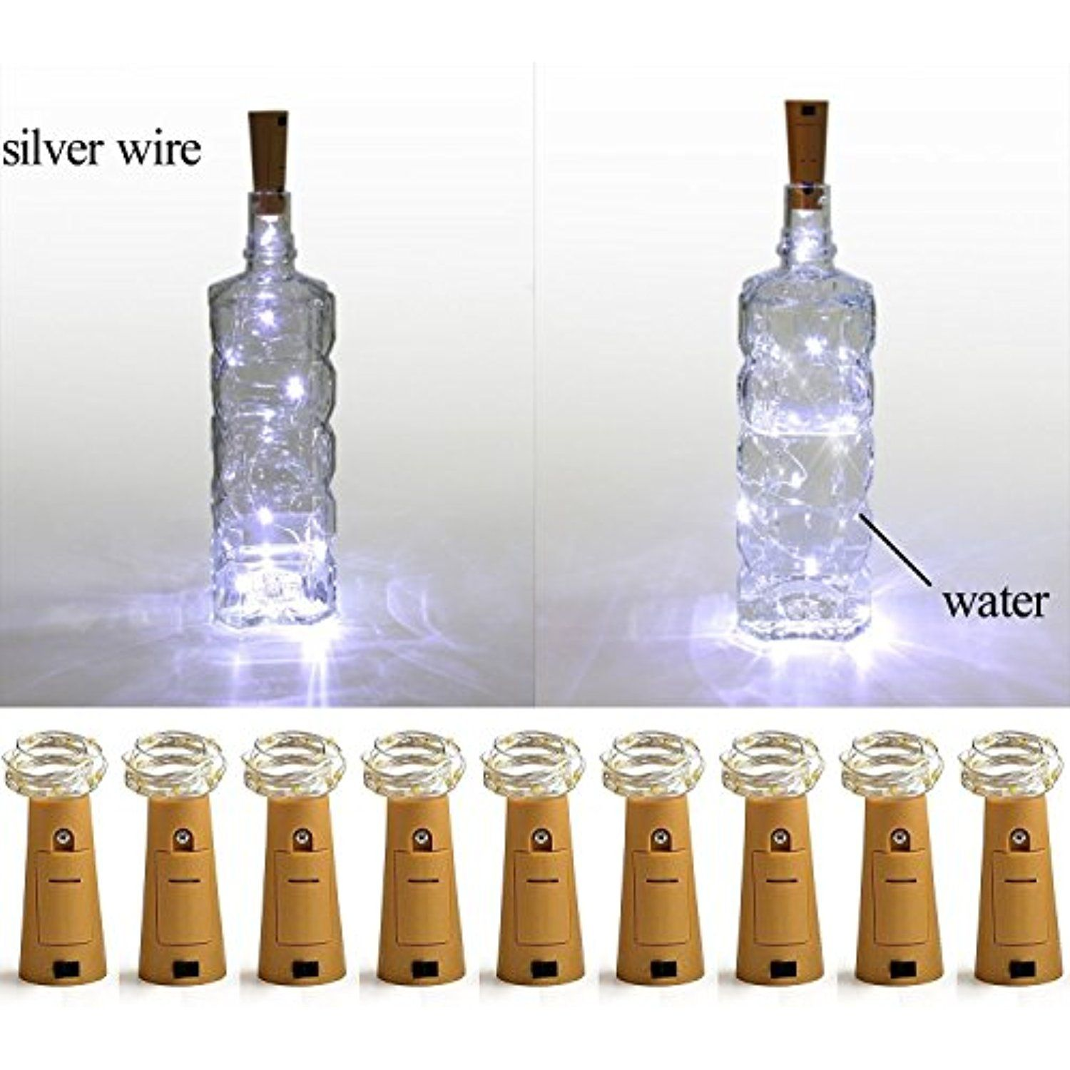 LXS Pack of 9 Cork Shape Wine Bottle Lights, Silver Wire Battery - Diy Indoor Halloween Decorations
