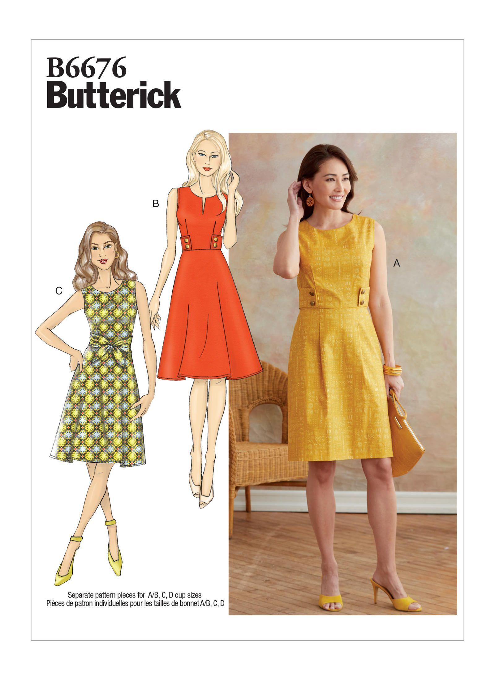 B6676 Misses Dress Sewing Pattern Butterick Patterns Sewing Dresses Miss Dress Butterick Sewing Pattern [ 2200 x 1600 Pixel ]