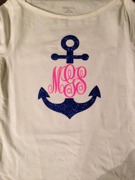 755bb1088 Glitter Anchor TShirt with Monogram by VibrantVinylbySarah on Etsy, $20.00
