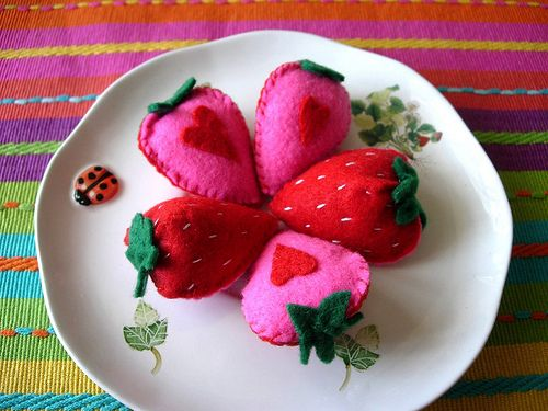 Play food - Strawberry halves