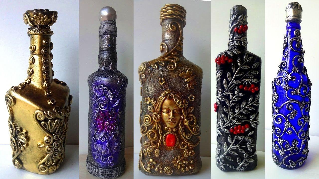 5 Bottle Decoration Ideas Bottle Art Decorate Wine Bottle Youtube In 2020 Bottles Decoration Bottle Art Wine Bottle Decor