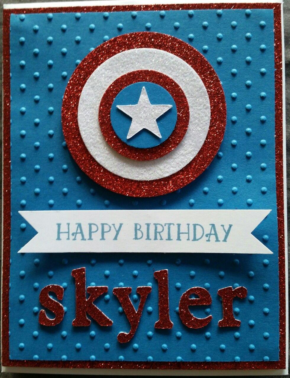 Captain America Birthday Card Birthday Cards For Men Cricut Birthday Cards Birthday Cards For Boys