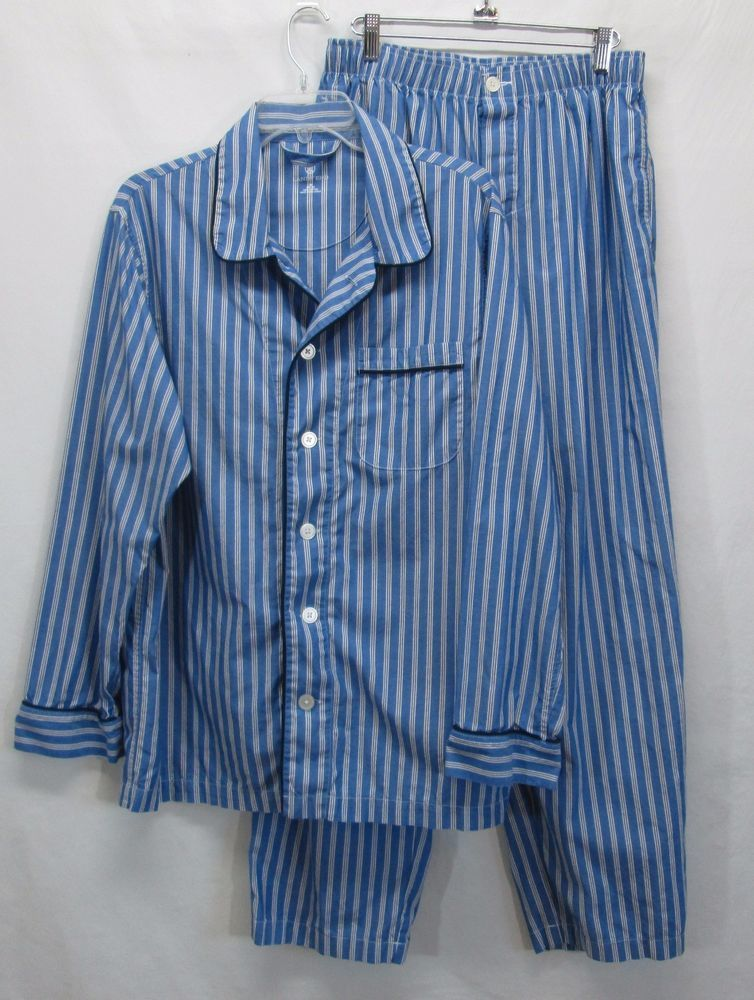 Lands End Classic Fit Broadcloth Pajama Set Mens Medium M