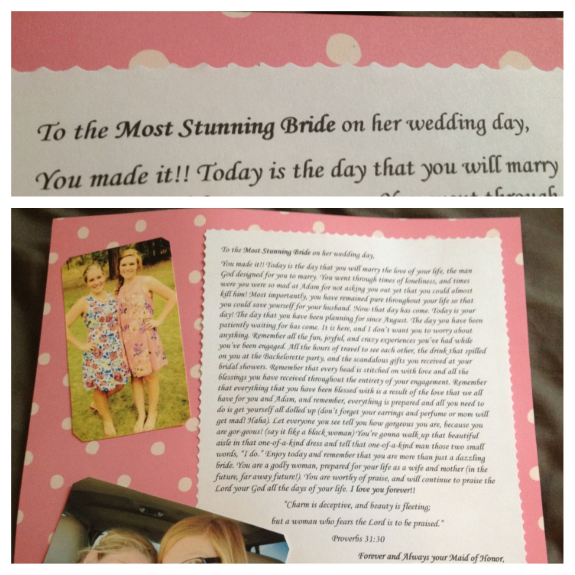 maid of honor idea write the bride a letter for her to read on the morning of her wedding day