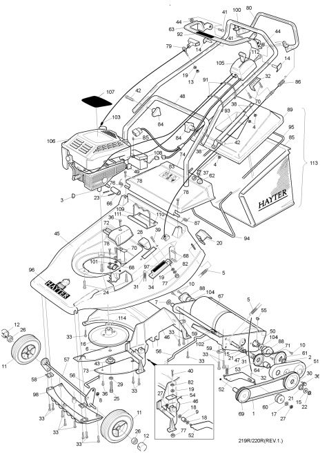 Hayter Harrier 48 220R001001 SPARES ORDERING DIAGRAMS