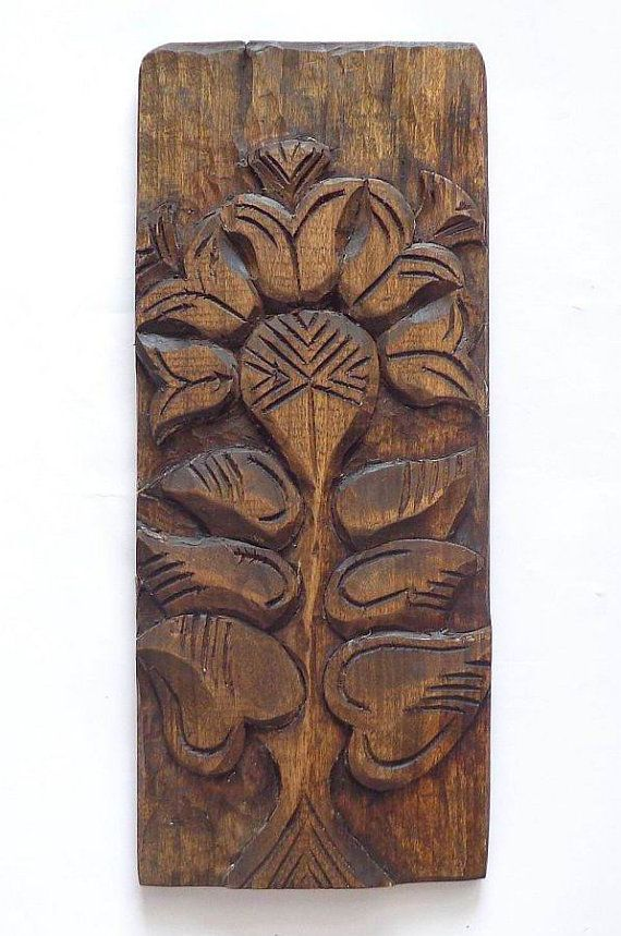 Vintage Solid Wood Hand Carved Wall Decor Flower Etsy Decorative Wall Plaques Wood Carving Art Carving