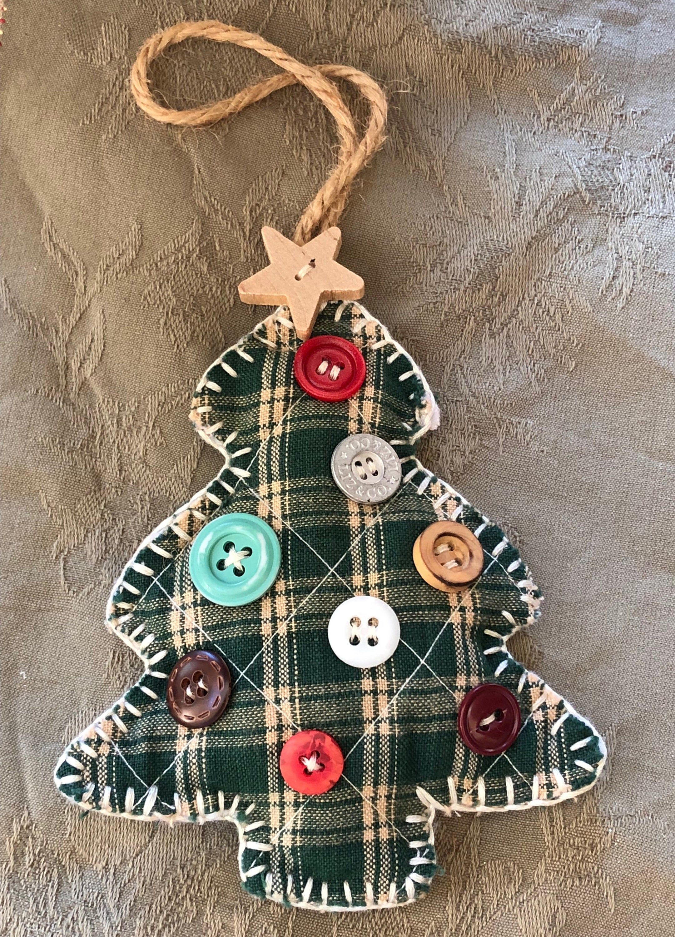 Vintage Hand Made Christmas Tree Ornament, Decorated With Buttons, Christmas Decoration, Trim A Tree, Holiday Decor, Vintage Ornament, Gift