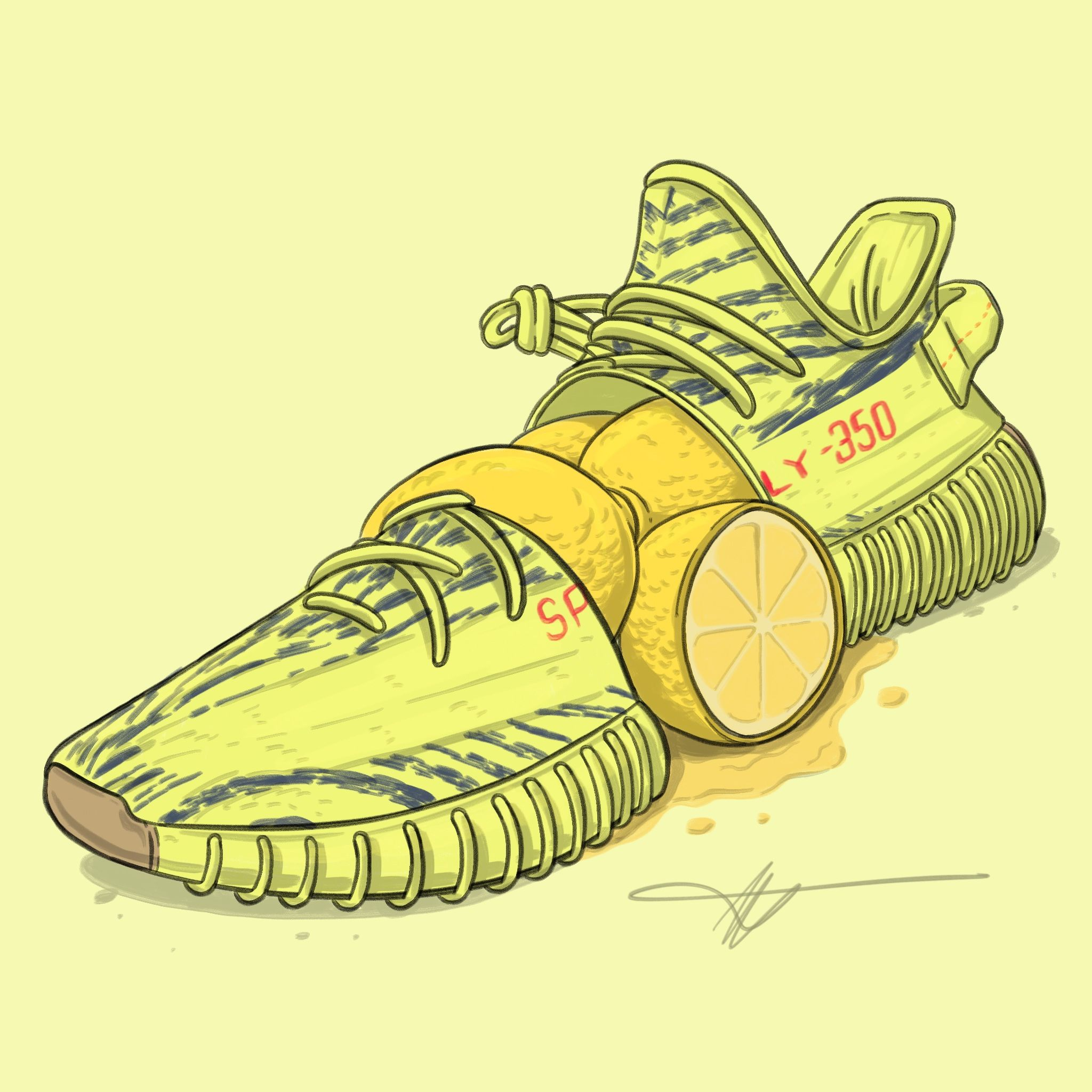 """Yeezy 350 V2 ""Semi Frozen Yellow / Lemons"" Sneaker art"