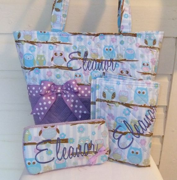 XL Quilted Purple Owls Diaper Bag Set FREE by MsSewItAll32 on Etsy, $68.00