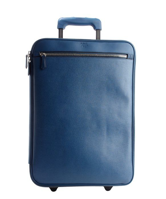 Fendi cobalt leather rollaway carry-on luggage