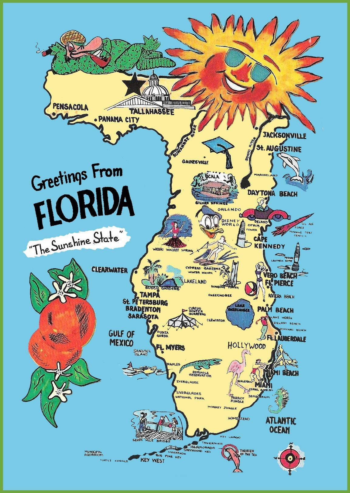 Map Of America Hollywood.Pictorial Travel Map Of Florida Florida Travel Maps Map Florida