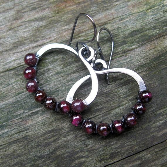 Garnet beaded hoop dangle sterling silver earrings