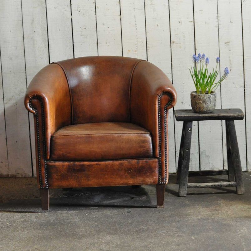 Chair Superb Vintage Worn French Leather Club Chair With