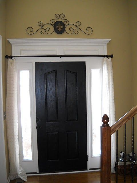 love doing this window trim i like the curtain rod and curtains for the side windows too. Black Bedroom Furniture Sets. Home Design Ideas