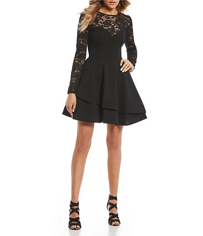 B  Darlin Long Sleeve Lace Double Hem FitandFlare Dress - Black dresses for juniors, Black short dress, Long junior dresses, Long sleeve homecoming dresses, Simple black dress, Long sleeve junior dresses - spandexhand washImported DMS 0325 002 Q28CM405A